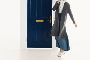 Mrs. Flute Knit, Ivory, $165 The Hideaway Coat, Charcoal, $365 The Time Piece Skirt, Blue Grey, $255